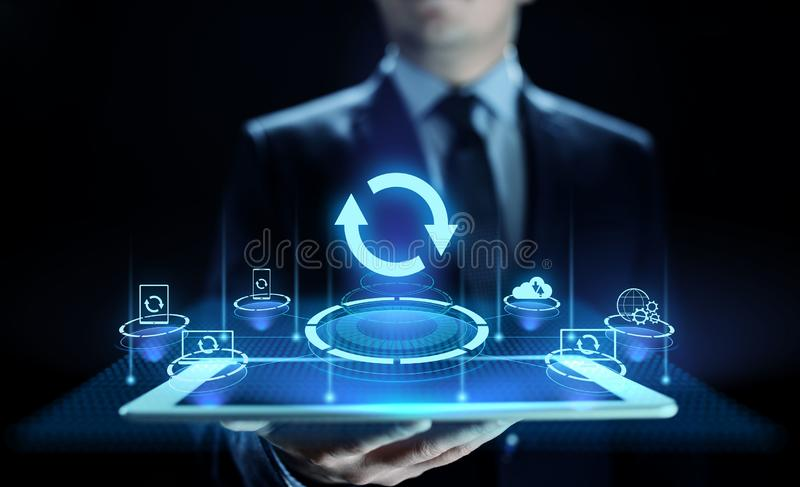 Update software application and hardware upgrade technology concept. royalty free stock photos