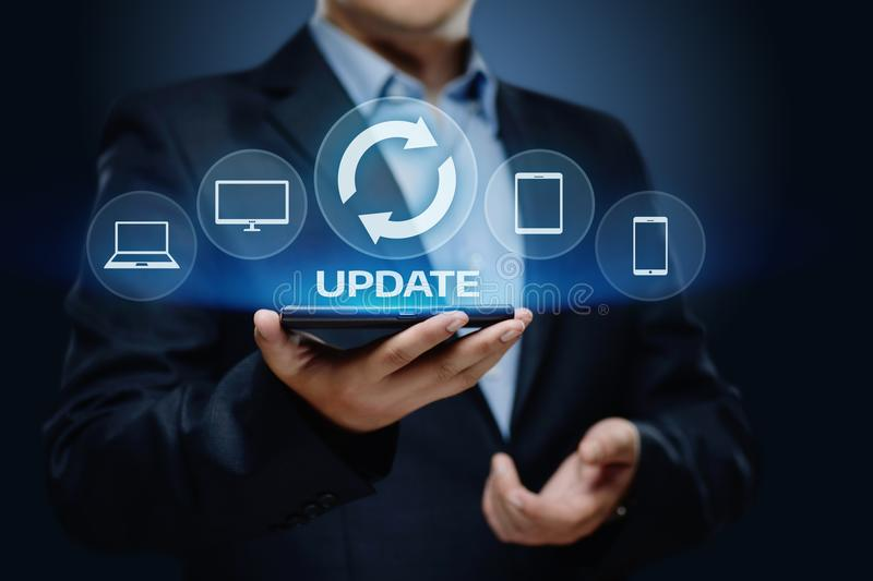 Update Software Computer Program Upgrade Business technology Internet Concept stock photo