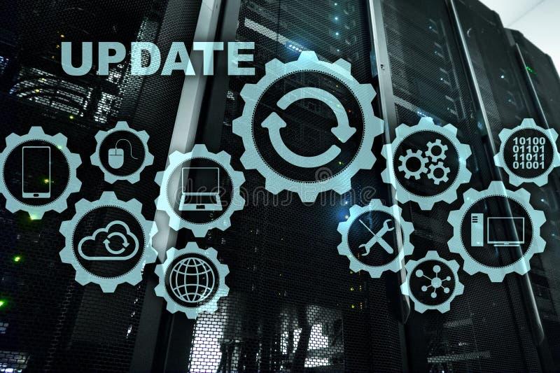 Update Software Computer on Virtual Screen Server Room Datacenter Background. Technology Updating vector illustration