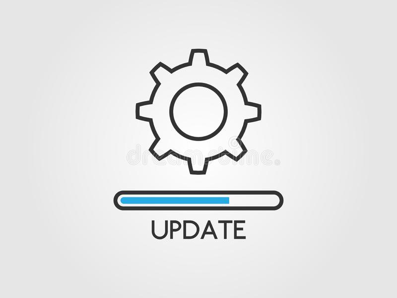 Update software concept. Upgrade system icon. Application status and load progress bar in flat style. Loading process royalty free illustration