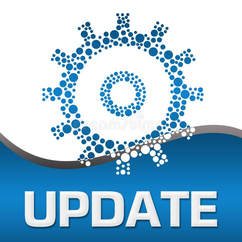 Update Dotted Gear Blue Square royalty free illustration
