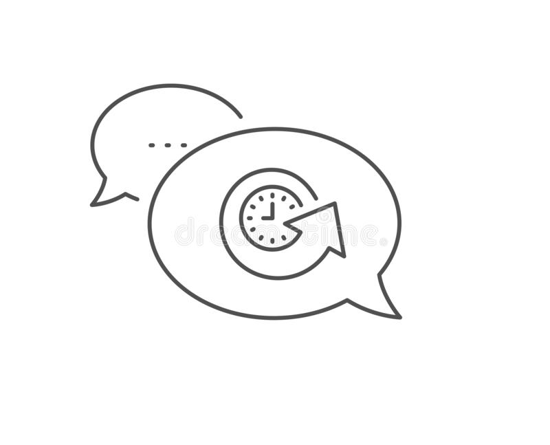 Update time line icon. Refresh watch sign. Vector. Update time line icon. Chat bubble design. Refresh watch sign. Outline concept. Thin line update time icon vector illustration