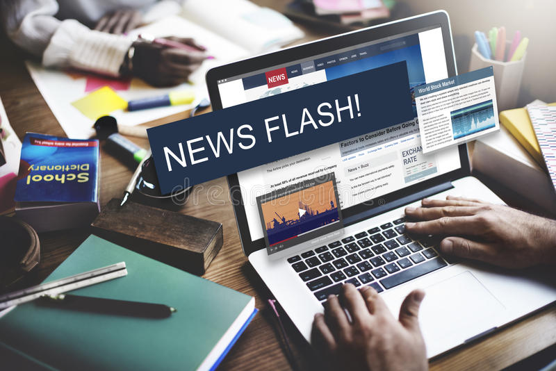Update Trends Report News Flash Concept stock images