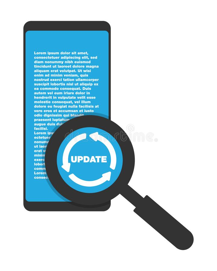 Update updating software app smartphone magnifying vector illustration