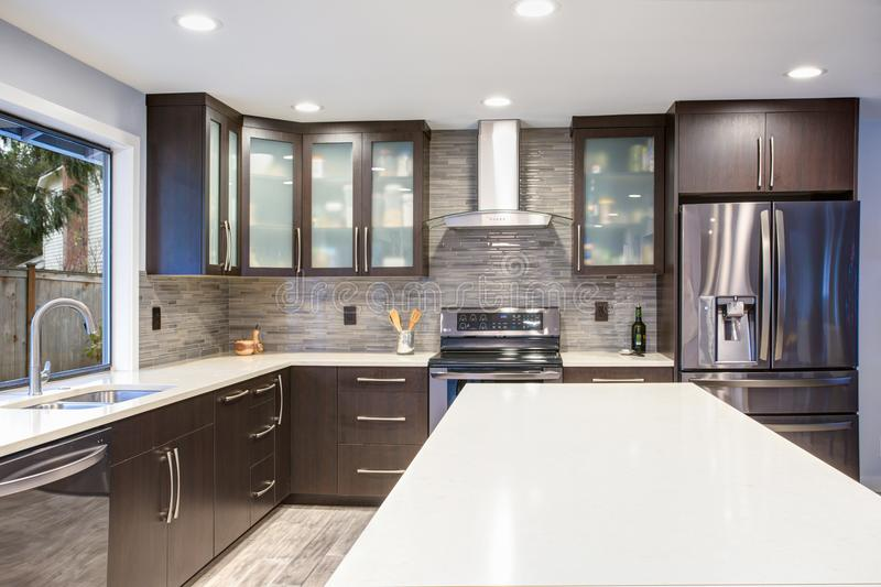Updated contemporary kitchen room interior in white and dark tones. royalty free stock image