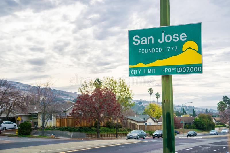 Updated San Jose, California city limit sign. Indicating population of over one million and founding year 1777 stock images