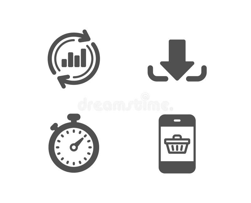 Updategegevens, Download en Tijdopnemerpictogrammen Smartphone die teken kopen Verkoopgrafiek, Ladingsdossier, Chronometergadget royalty-vrije illustratie