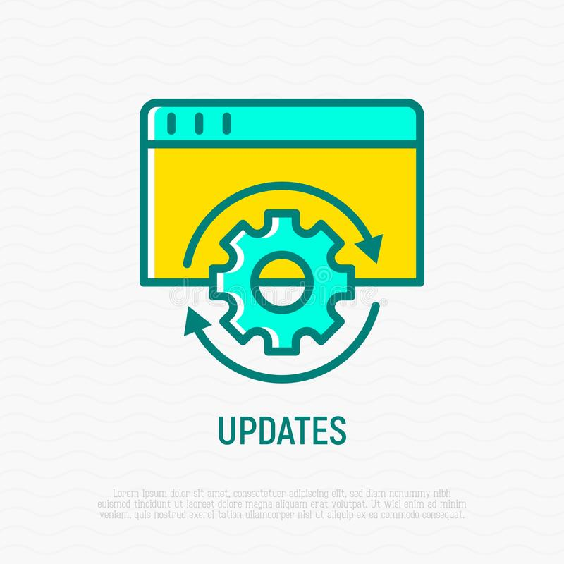 Updates, pictogram van de herladen het dunne lijn vector illustratie
