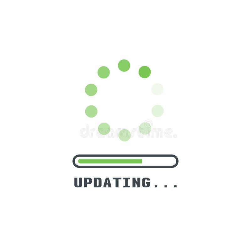 Upadting line icon. Updating software icon. Circle with transparent circling and spinning dots. Download process symbol with progress bar. Installing app or royalty free illustration