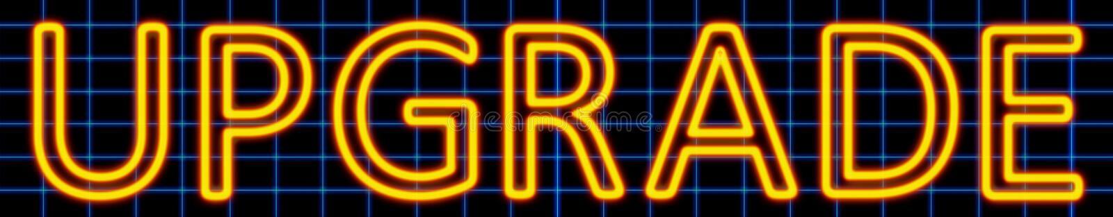 Upgrade neon sign. Abstract 3d rendered words upgrade yellow neon sign on blue wire background vector illustration