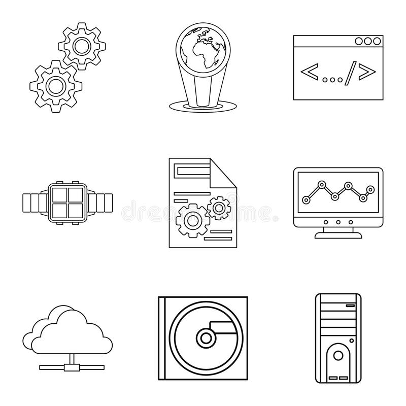 Upgrade tech icons set, outline style. Upgrade tech icons set. Outline set of 9 upgrade tech vector icons for web isolated on white background vector illustration