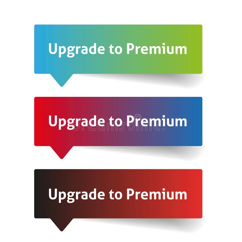Upgrade to premium. Call to action button stock illustration