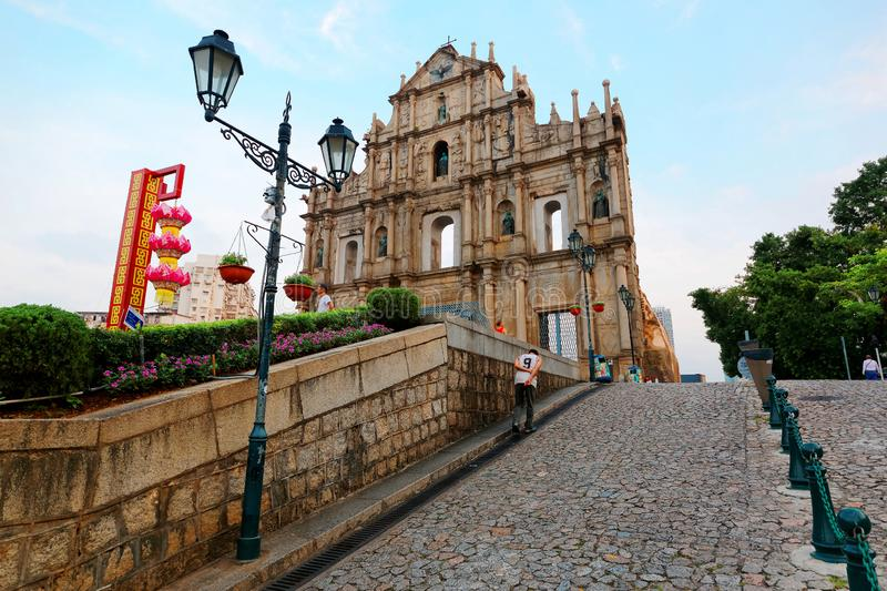 An uphill promenade leading to the Ruins of St. Paul`s Church in the Historic Center of Macau, China stock photo
