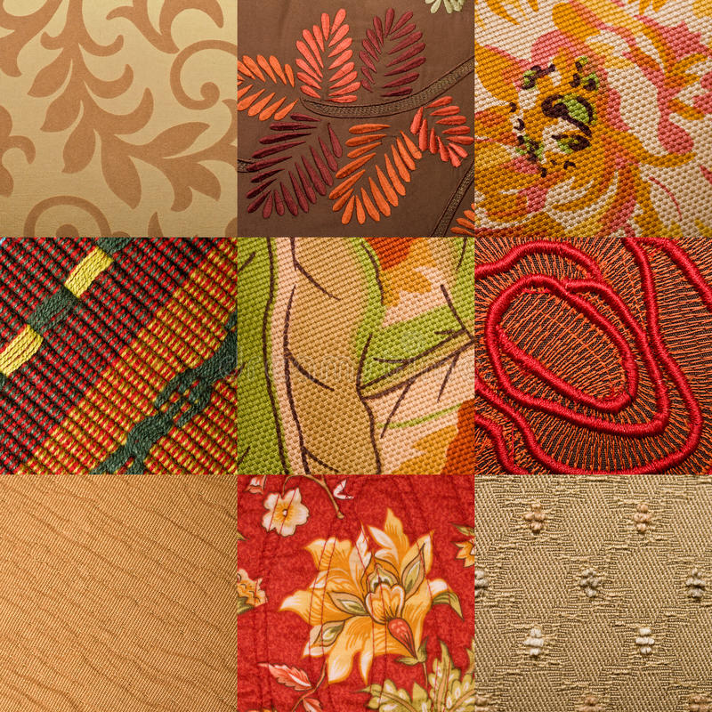 Upholstery fabric. Nine different upholstery fabric textures with mainly floral designs stock photos