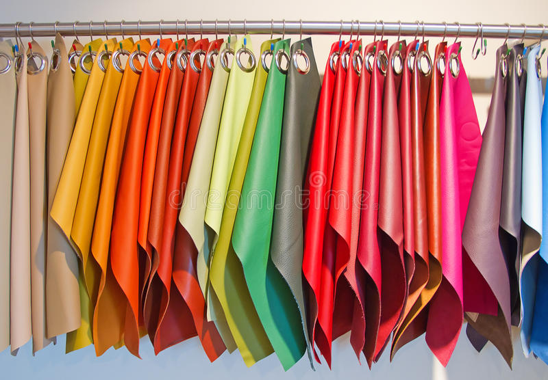 Upholstery samples. Colorful leather upholstery samples in the shop royalty free stock image