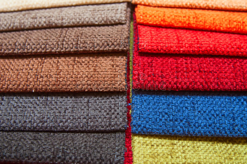 Upholstery samples. Colorful upholstery samples in the shop royalty free stock photography