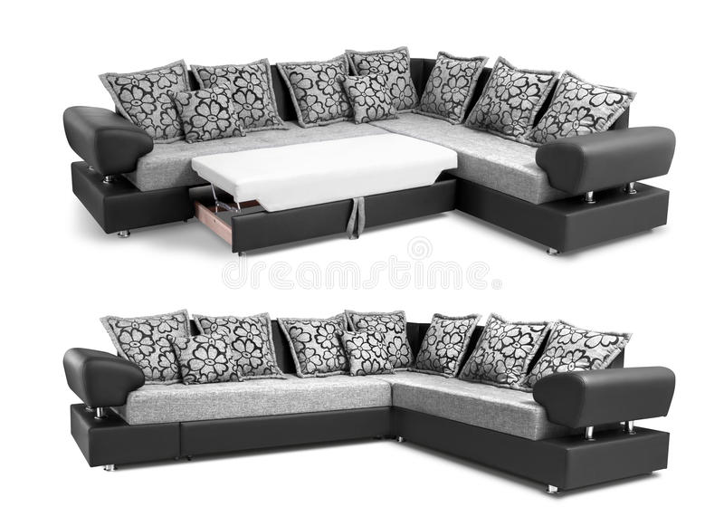 Upholstery sofa corner set with pillows isolated with clipping path. Upholstery sofa corner set with pillows isolated on white background with clipping path royalty free stock image