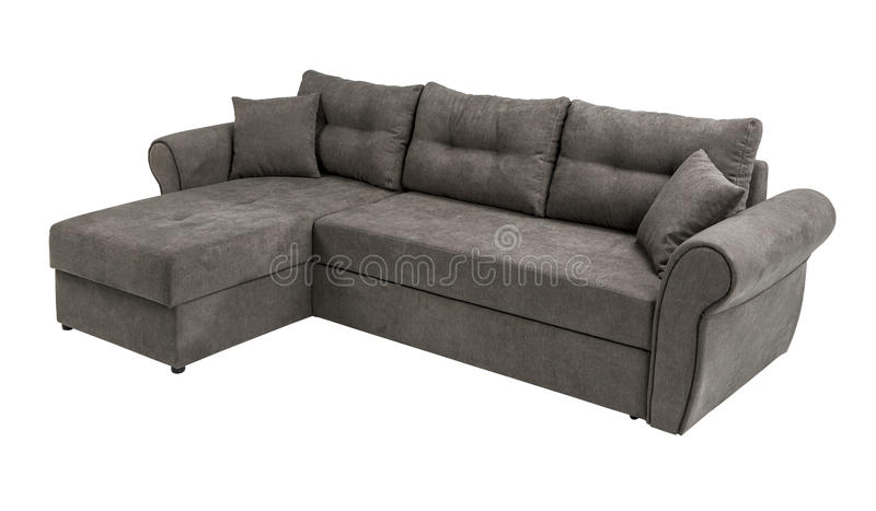 Upholstery sofa corner set with pillows isolated on white background with clipping path royalty free stock photos