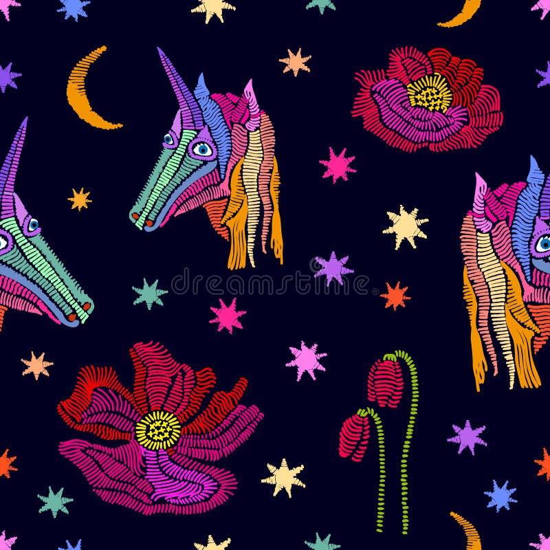 Upiększone jednorożec w niebie ilustracja wektor