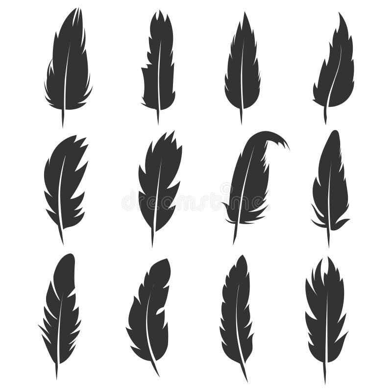 Upierza, antykwarskiego pióra czerni wektorowe ikony odizolowywać na białym tle ilustracja wektor