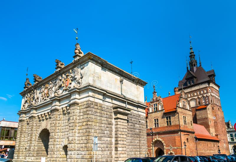 Upland Gate and Prison Tower in Gdansk, Poland stock images