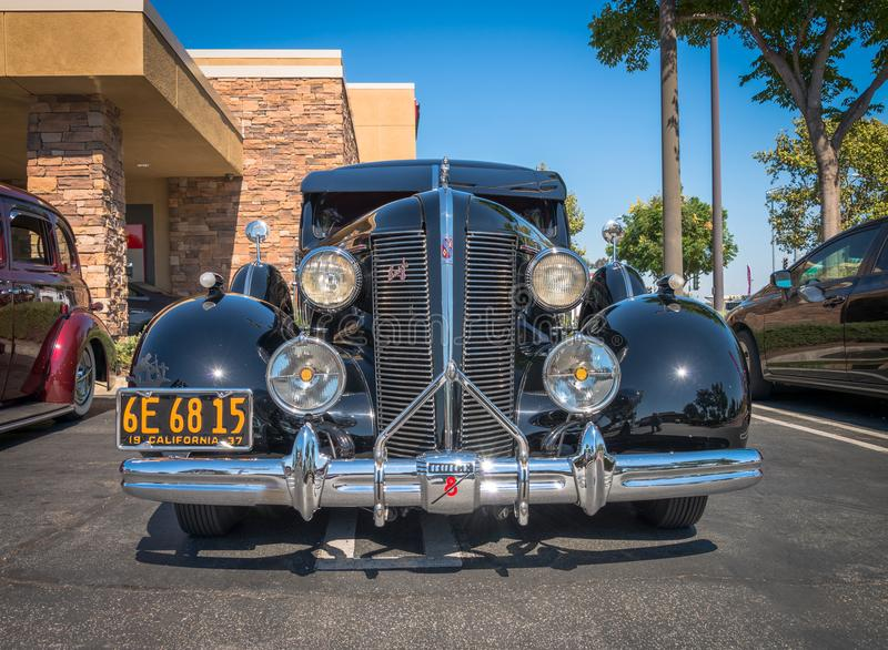 1937 Buick 8 - Black - Front. Upland, United States of America - July 29, 2017: 1937 Black Buick 8 Special appears in spontaneous classic car show in suburban royalty free stock image