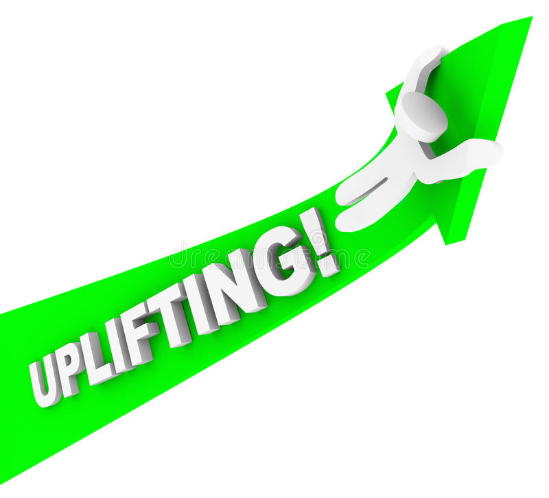 Uplifting Word Person Riding Arrow Achiving Higher Success royalty free illustration