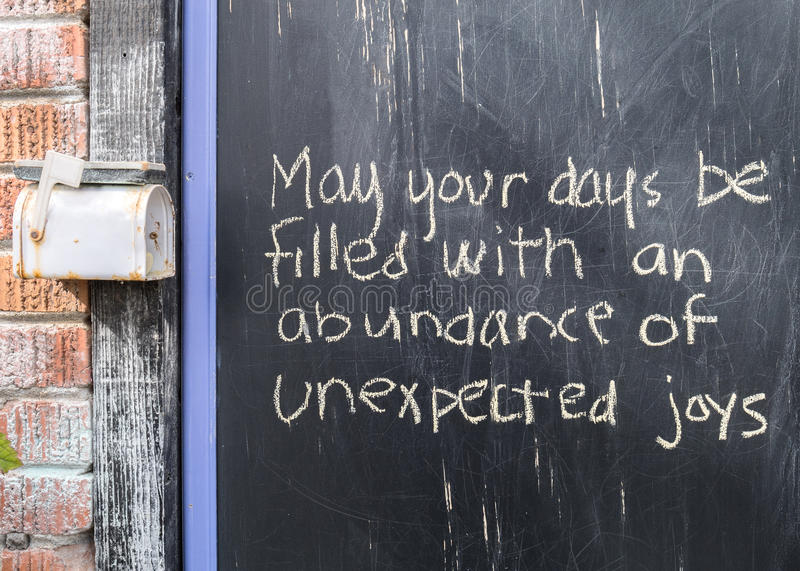 Uplifting words. Message of hope left on a chalkboard