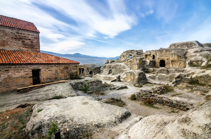 Uplistsikhe is an ancient rock-hewn town in eastern Georgia, stock photo