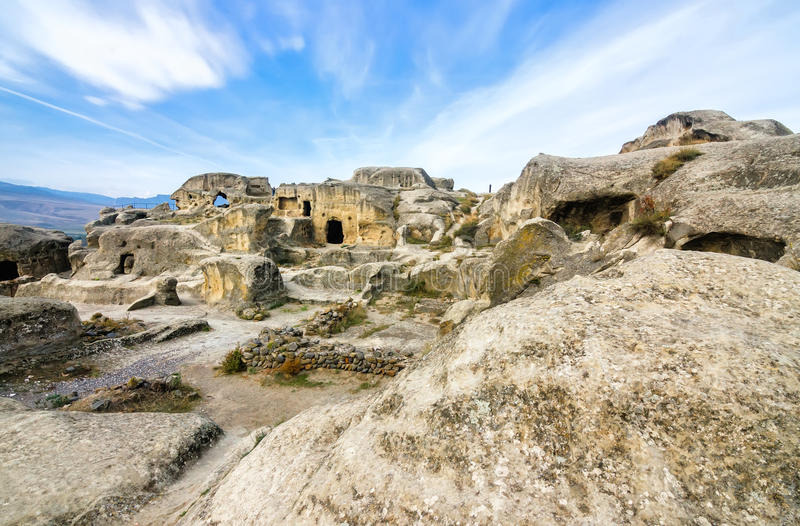 Uplistsikhe is an ancient rock-hewn town in eastern Georgia,. Some 10 kilometers east of the town of Gori, Shida Kartli. It is one of the first cities on the stock photo