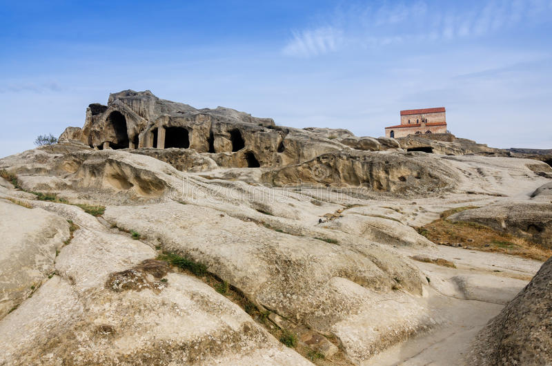 Uplistsikhe is an ancient rock-hewn town in eastern Georgia,. Some 10 kilometers east of the town of Gori, Shida Kartli. It is one of the first cities on the stock image