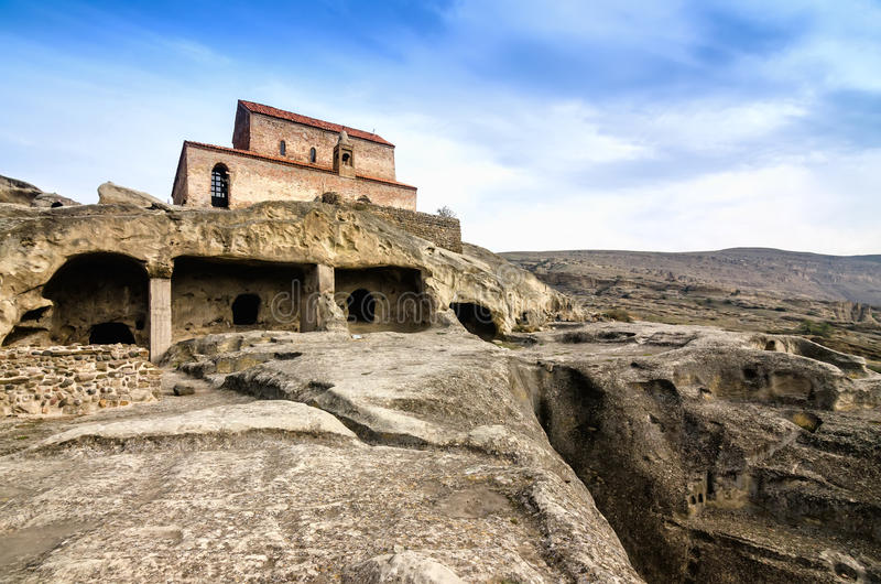 Uplistsikhe is an ancient rock-hewn town in eastern Georgia,. Some 10 kilometers east of the town of Gori, Shida Kartli. It is one of the first cities on the stock images