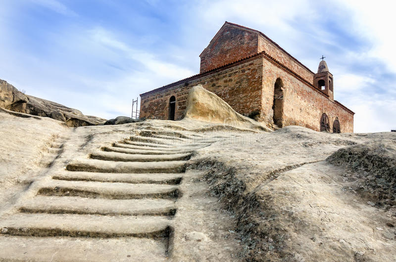 Uplistsikhe is an ancient rock-hewn town in eastern Georgia,. Some 10 kilometers east of the town of Gori, Shida Kartli. It is one of the first cities on the royalty free stock image