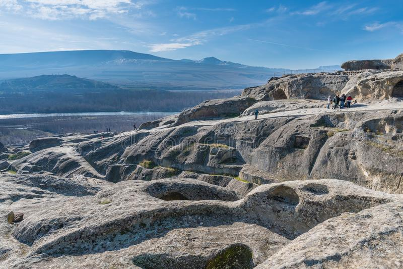 Uplistsikhe, an ancient rock-hewn town in eastern Georgia royalty free stock image