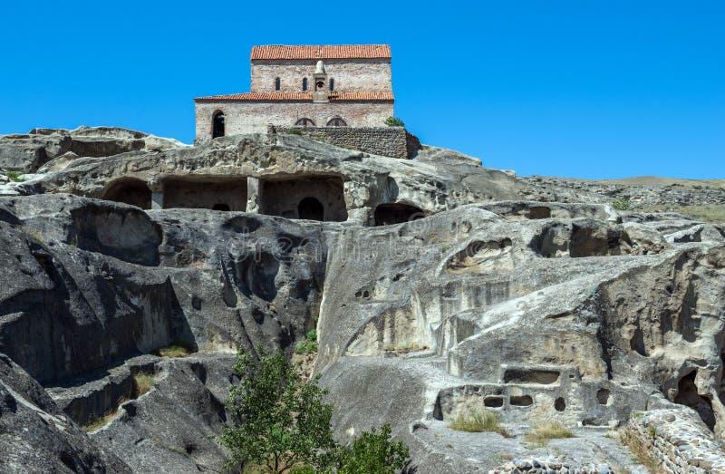 Uplistsikhe in Georgia. Christian Basilica in ancient rock-hewn town called Uplistsikhe in Georgia royalty free stock image