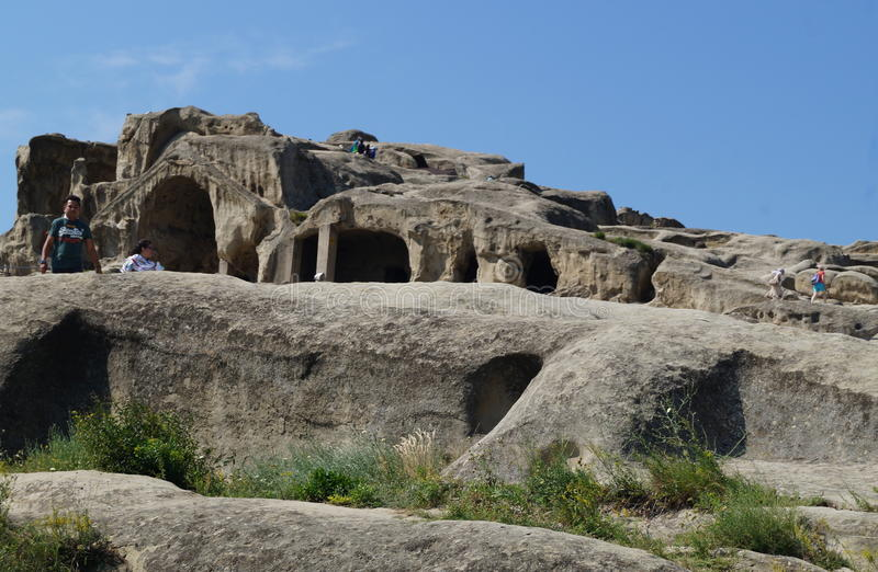 Uplistsikhe - the lords fortress. An ancient rock-hewn town in eastern Georgia. It is identified by archaeologists as one of the oldest urban settlements in the stock photo