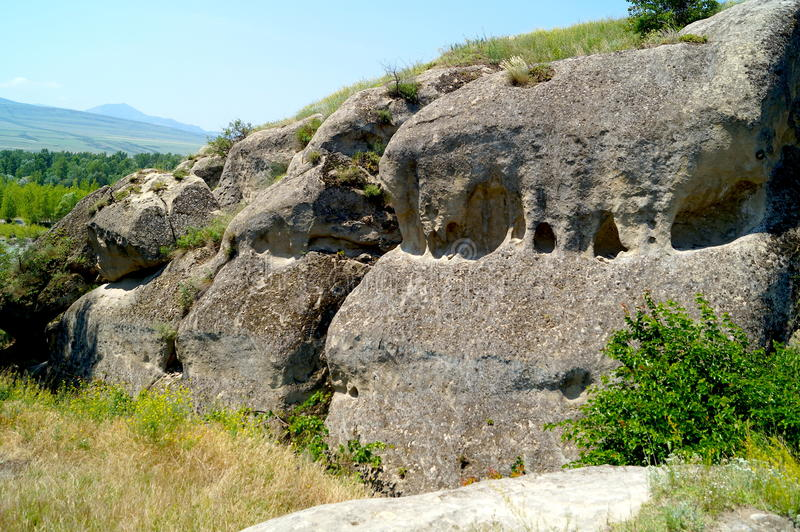 Uplistsikhe - the lords fortress. An ancient rock-hewn town in eastern Georgia. It is identified by archaeologists as one of the oldest urban settlements in the stock images