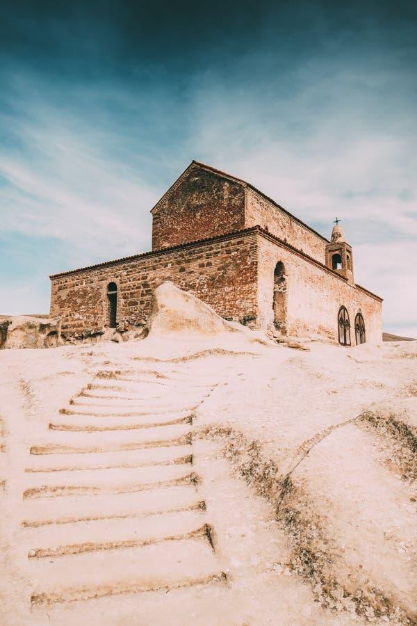 Uplistsikhe, région de Shida Kartli, la Géorgie Escalier en pierre à l'église d'Uplistsuli ou à l'église de prince In Famous Land photos stock