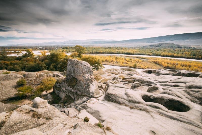 Uplistsikhe, Shida Kartli Region, Georgia. Remnants Of Altar In Famous Landmark Uplistsikhe Is An Ancient Rock-hewn Town stock photos