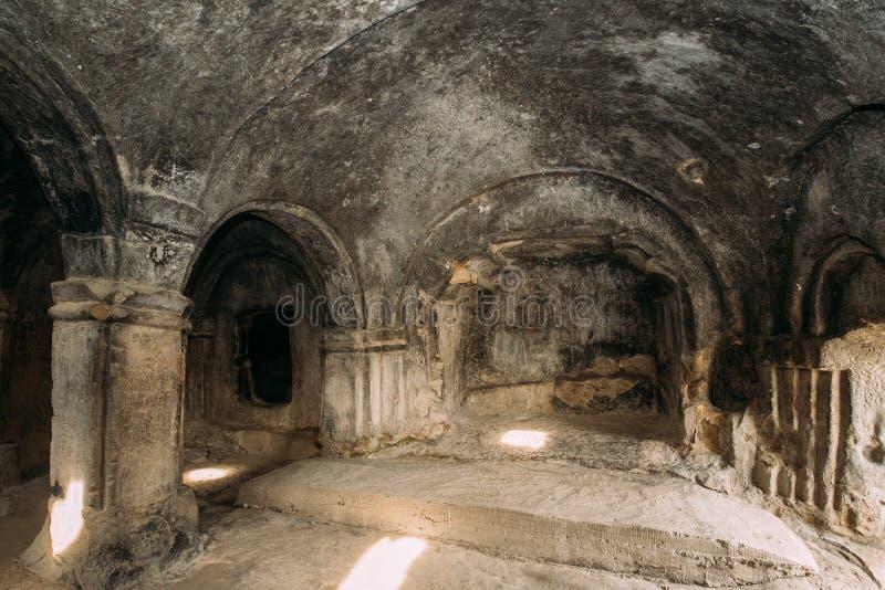 Uplistsikhe, Shida Kartli Region, Georgia. Single Column Hall Of. Famous Landmark Uplistsikhe. Ancient Rock-hewn Town In Eastern Georgia. UNESCO World Heritage royalty free stock photos