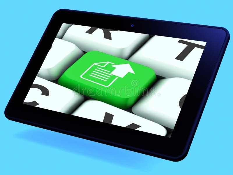 Download Upload Arrow And File Key Tablet Shows Uploaded Software Or Data Stock Illustration - Illustration: 41432519