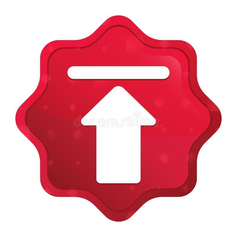 Upload de stickerknoop van pictogram nevelige rozerode starburst royalty-vrije illustratie