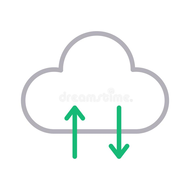 Upload download cloud thin line color vector icon vector illustration