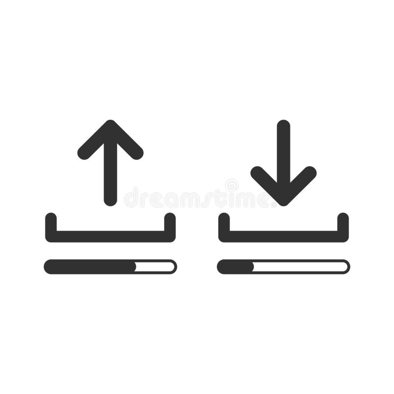 Upload and download icon set with loading bars, simple linear desighn for websites, apps, UI, presentations. Arrow up and down. Vector illustration isolated on royalty free illustration