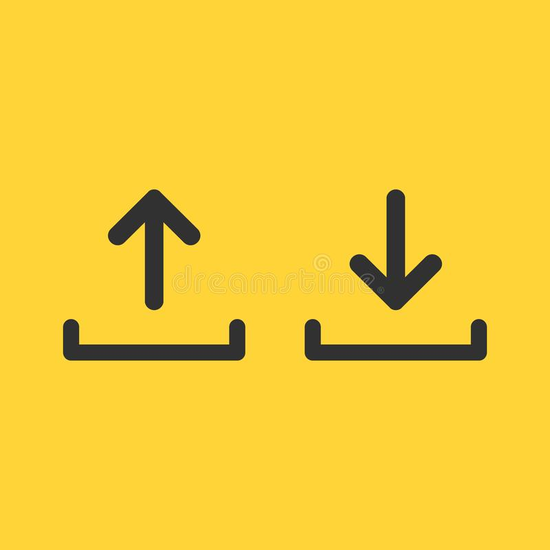 Upload and download icon set, simple linear desighn for websites, apps, UI, presentations. Arrow up and down. Vector illustration. Isolated on yellow background royalty free illustration