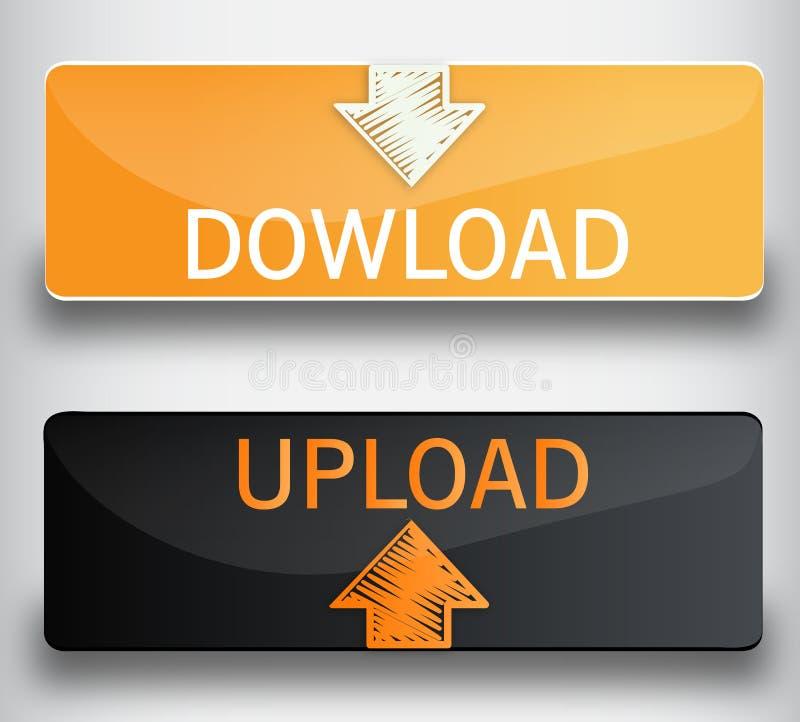 Upload, download knopen stock illustratie