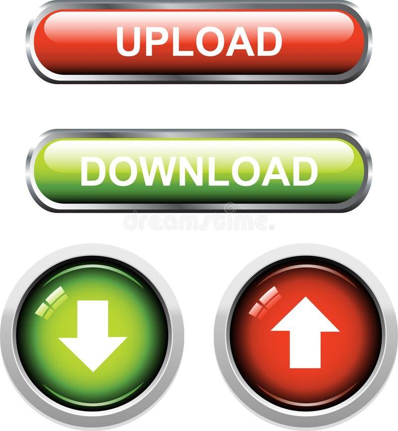 Upload/download Knopen vector illustratie