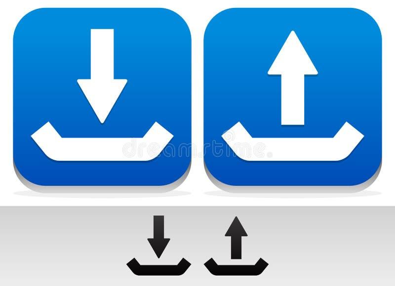 Upload, download Knopen en Symbolen vector illustratie