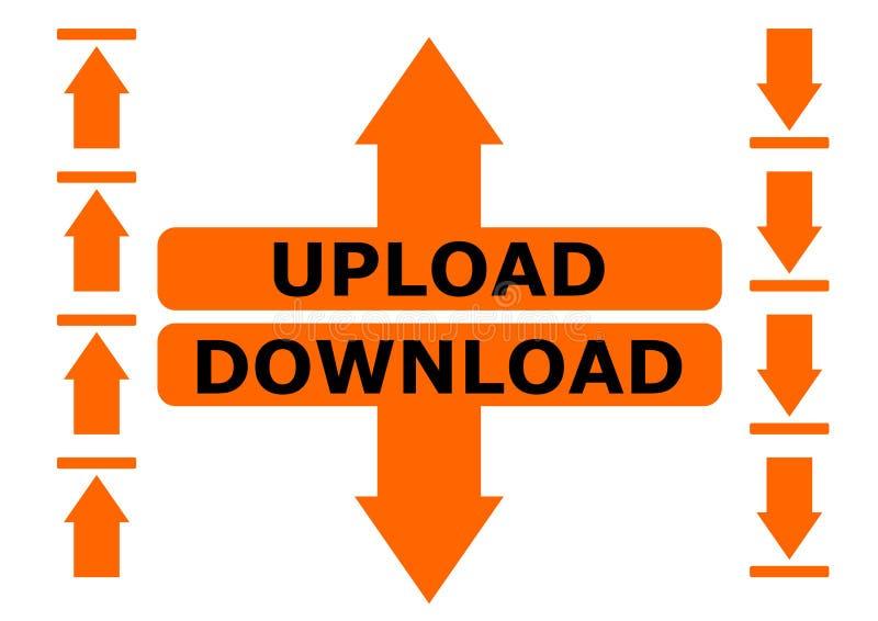 Upload en download geïsoleerde tekenillustratie stock illustratie