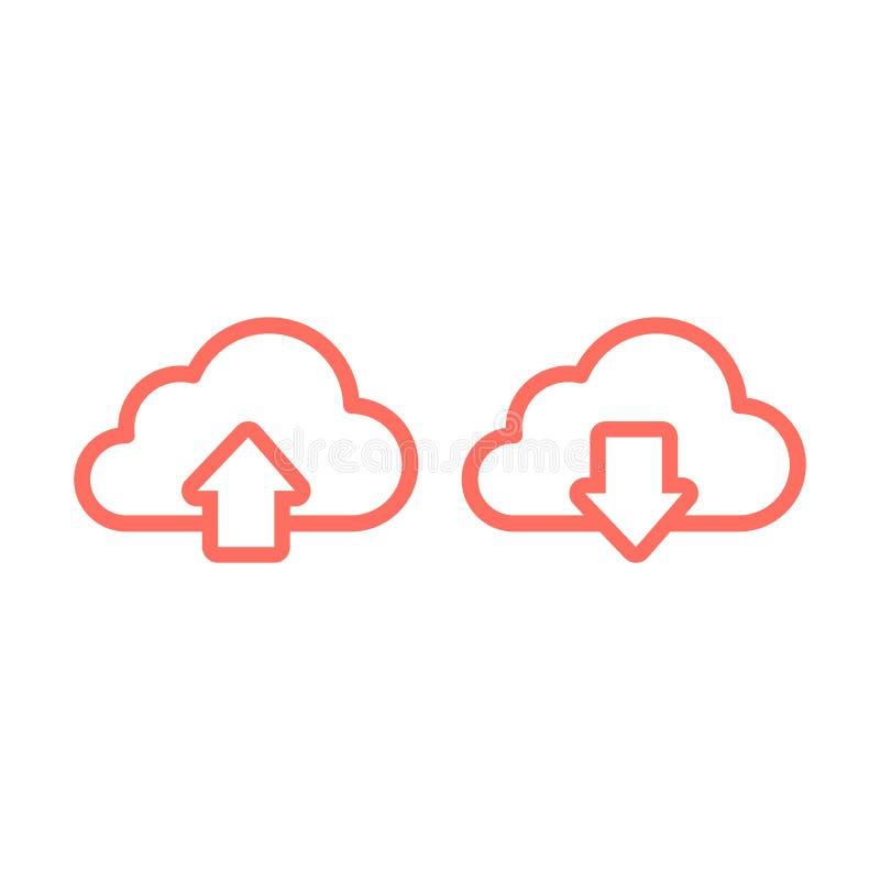 Upload en download lijnpictogram vector illustratie